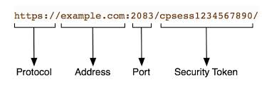 An example of a cPanel & WHM service URL.