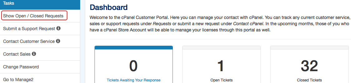 The Dashboard interface in the cPanel Customer Portal.